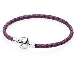 Pandora purple leather and silver bracelet